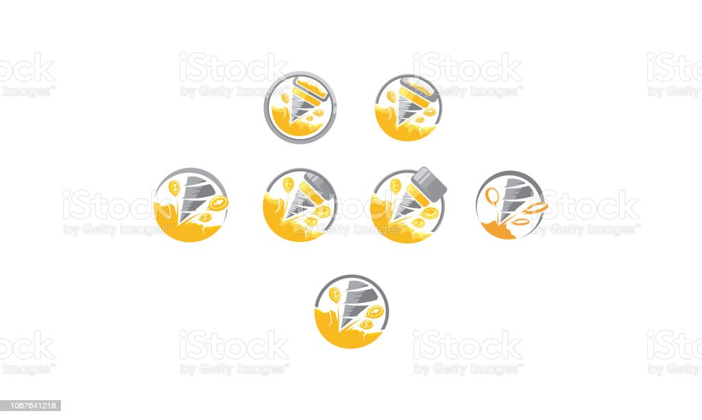 Gold Mine Drill Icon Vector Stock Illustration - Download