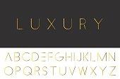 Gold minimalistic font. Luxury english alphabet.