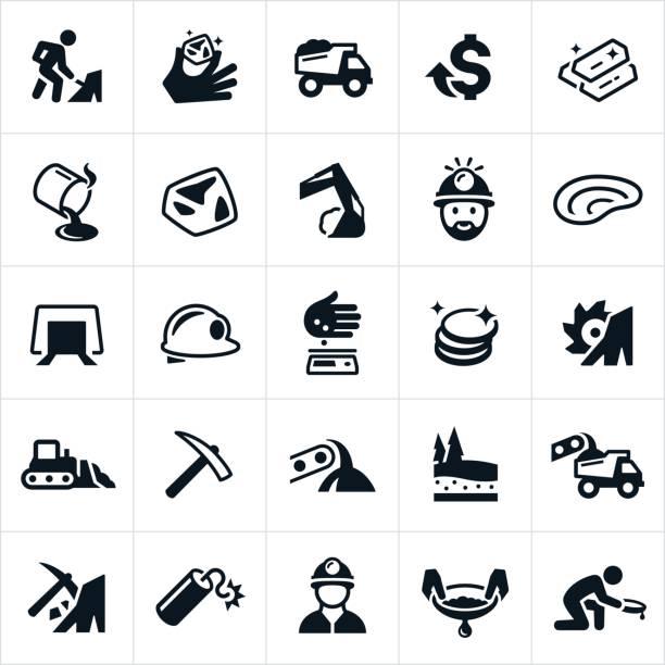 gold-bergbau-symbole - mineral stock-grafiken, -clipart, -cartoons und -symbole