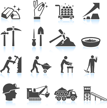 Gold Mining Industry black & white vector icon set