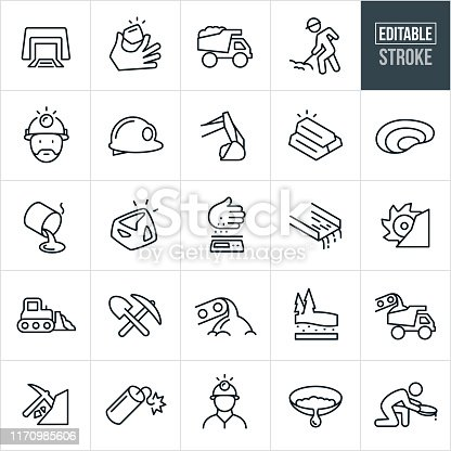 A set of gold mining icons. The icons include miners mining, mine shaft, gold nugget, dump truck, worker working using shovel, worker wearing miners hat, hard hats, excavator, gold bars, pit mine, smelter, molten gold, scale, sleuth box, bulldozer, pick, shovel, dynamite and panning for gold to name just a few.