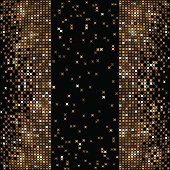Gold mosaic design on black background. Files include: Illustrator CS5, Illustrator 10.0 eps, SVG 1.1, pdf 1.5, JPEG 300dpi, organized by layers, easy to edit.