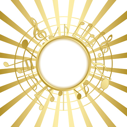 gold music card with rays - vector