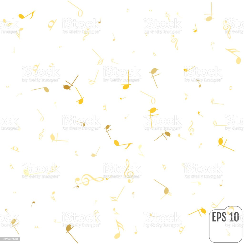 Gold Music Notes And Shadow Abstract Musical Background