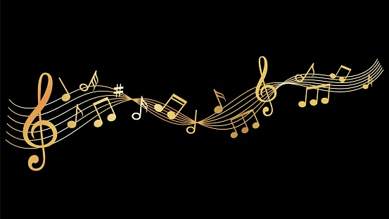 Musical wave. Gold music notes background. Sound vector illustration