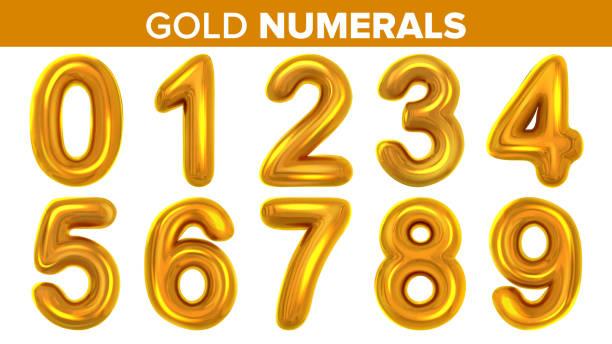 골드 숫자 벡터를 설정 합니다. 황금 노란 금속 편지입니다. 번호 0 1 2 3 4 5 6 7 8 9. 알파벳 글꼴입니다. 타이포 그래피 디자인 요소입니다. 파티 배경입니다. 호 일 기호입니다. 밝은 금속 3d 현실� - 숫자 stock illustrations