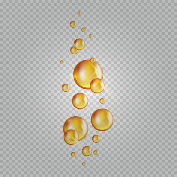 bildbanksillustrationer, clip art samt tecknat material och ikoner med guld olje bubblor. vector blink kollagen kapslar. kosmetika olja droppar isolerade på transparent bakgrund - omega 3