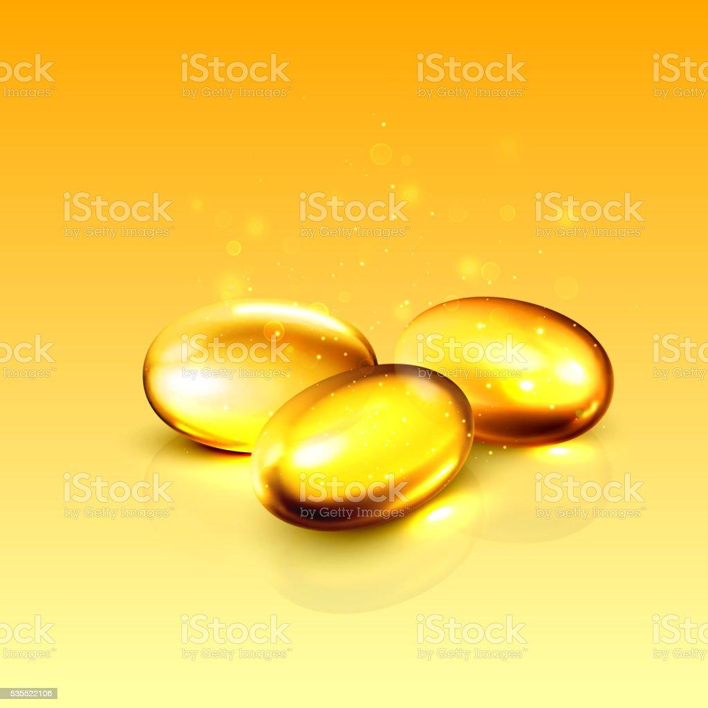 Gold oil collagen capsule pill illustration. vector art illustration