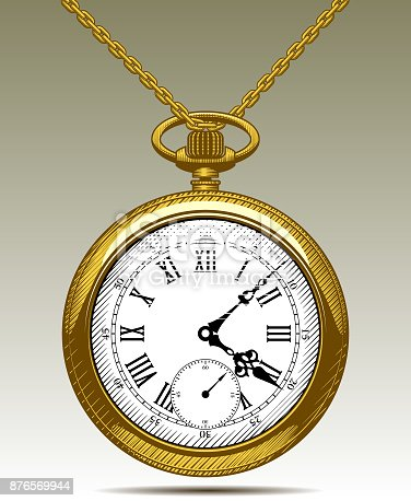 istock Gold Old clock on a chain 876569944