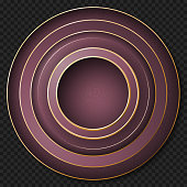 A beautiful abstract design consisting of concentric circles. Purple rings with golden rims isolated on a transparent background. EPS10 vector illustration, global colors, easy to modify.