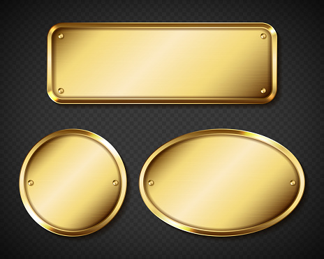 Gold or brass plates, golden name plaques mockup