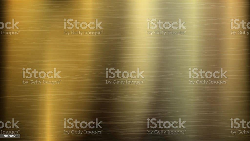 Fundo de tecnologia abstrata do Metal do ouro ou Bronze. Textura polida e escovada. Ilustração vetorial - ilustração de arte em vetor