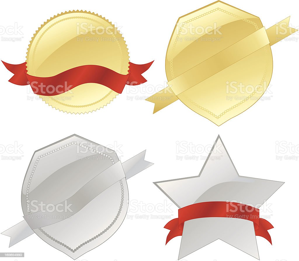Gold or Silver Seals, Medals, Shields, Ribbons Design Elements Set royalty-free stock vector art