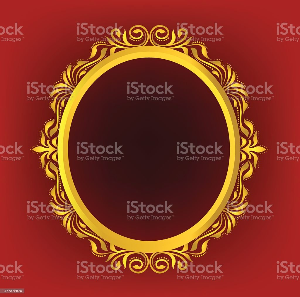 Gold Oval Frame Floral Stock Vector Art & More Images of 2015 ...
