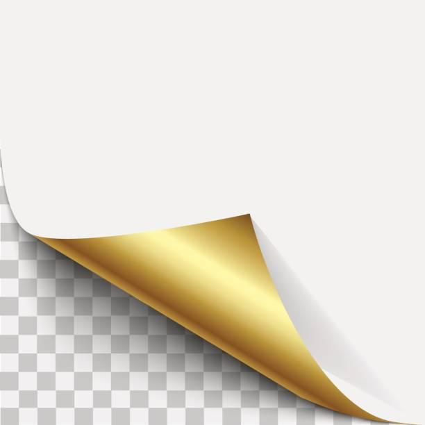 ilustrações, clipart, desenhos animados e ícones de casca de canto de página de ouro. dobra de ouro página enrolada com sombra. folha em branco da nota pegajosa de papel dobrado. casca de etiqueta vector ilustração para publicidade e promocional mensagem isolada no fundo branco. - tag