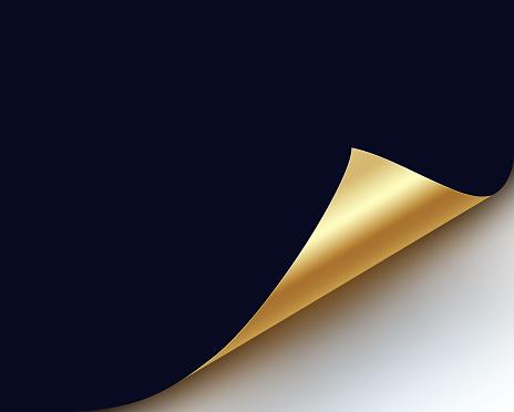 blue page curled up golden reveal corner design element