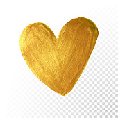 Gold paint brush. Vector Valentine heart on white background. Golden watercolor painting of heart shape for love concept design. Valentine's day card heart template