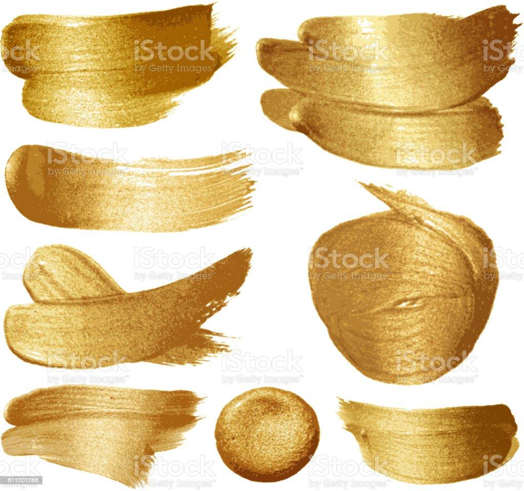 Gold paint set vector art illustration