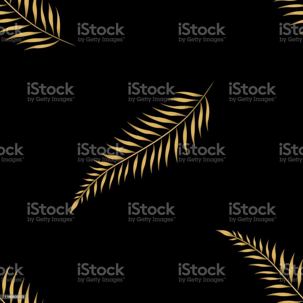 Gold palm leaves seamless pattern. Gold leaf on black background....