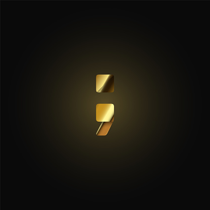 Gold paper folded character from a typeset, vector illustration
