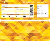 Gold patterned boarding pass from Paris to Rio De Janeiro