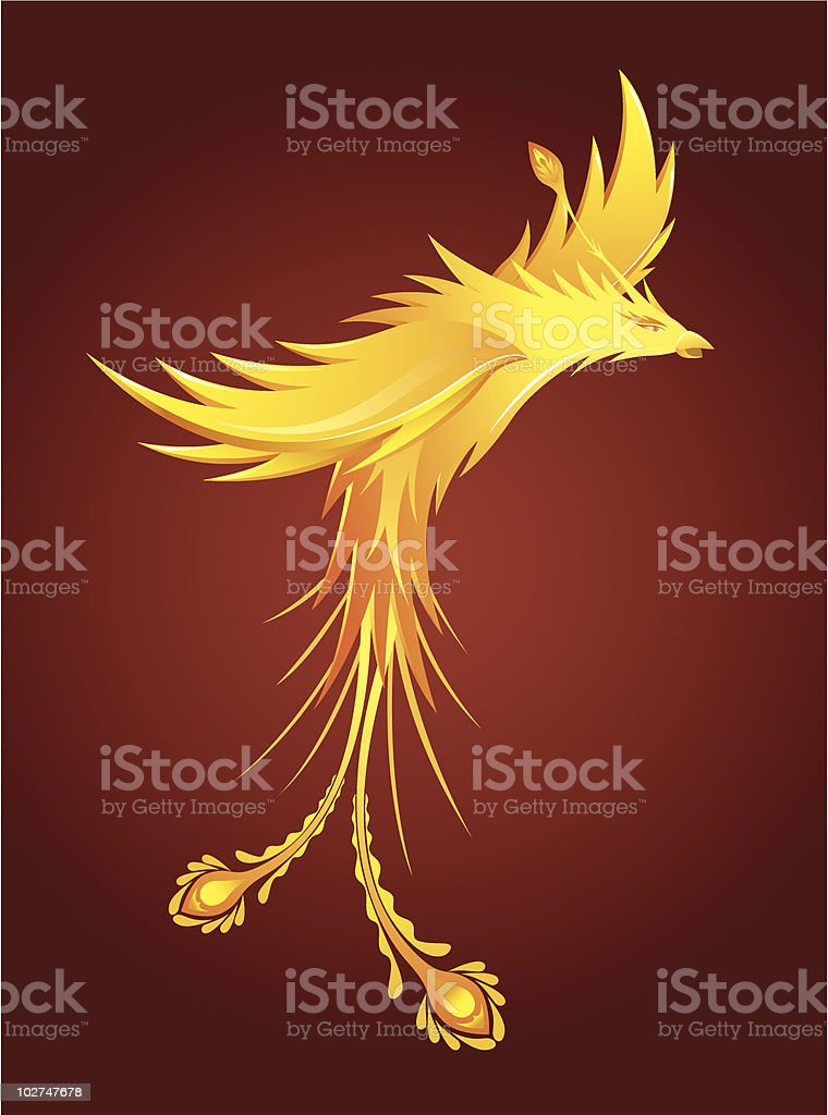 Gold phoenix vector art illustration