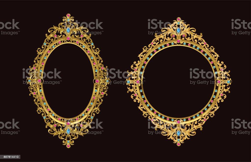 Moldura de ouro com linha de Tailândia canto floral para imagens, Vector design decoração padrão style.frame fronteira design é estilo tailandês padrão - ilustração de arte em vetor