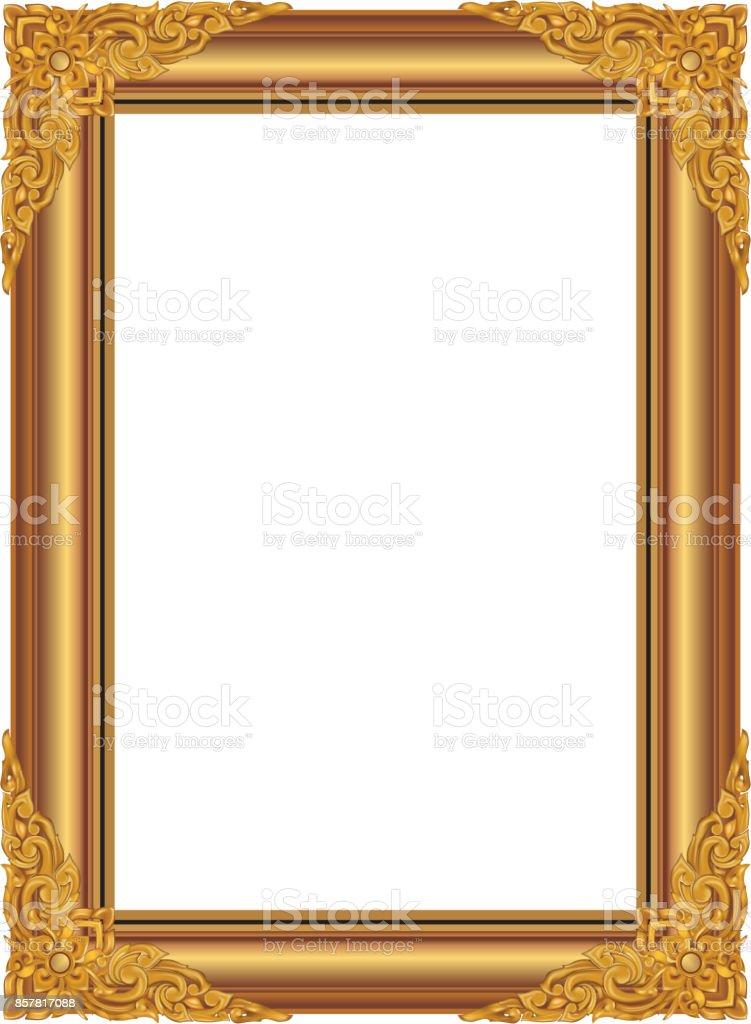 Gold bilderrahmen mit ecke thailand linie blumen f r bild vektordesign dekoration muster - Dekoration gold ...