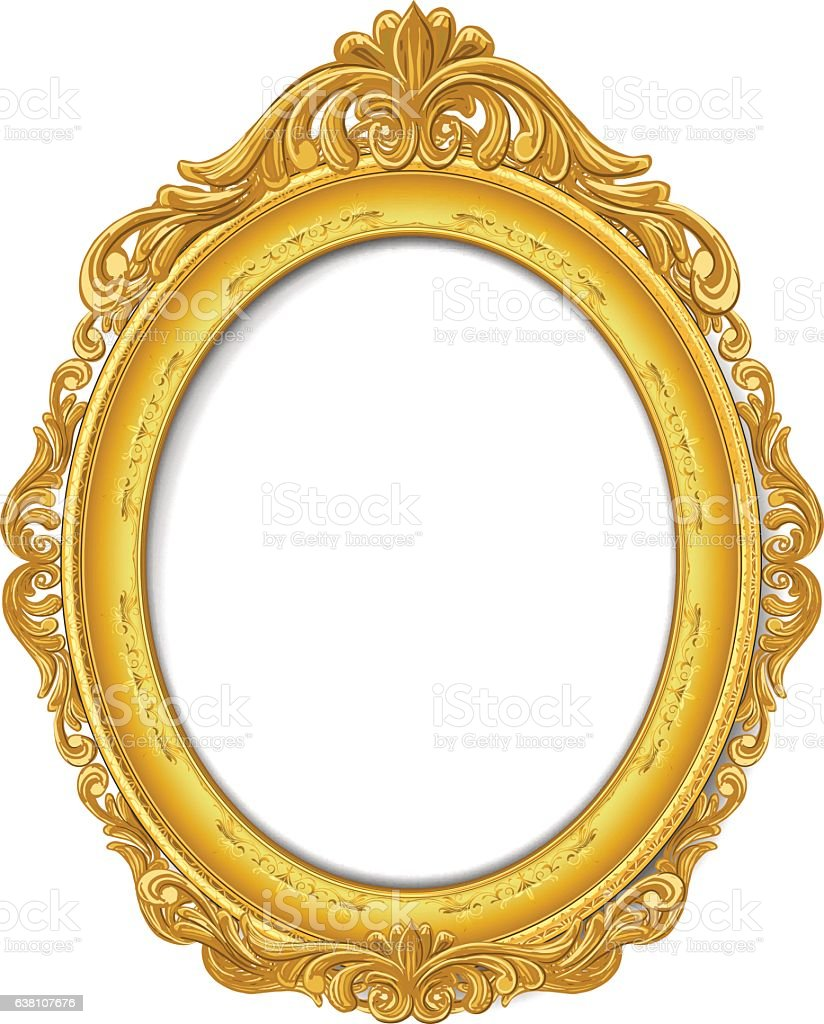 gold picture frame vector art illustration