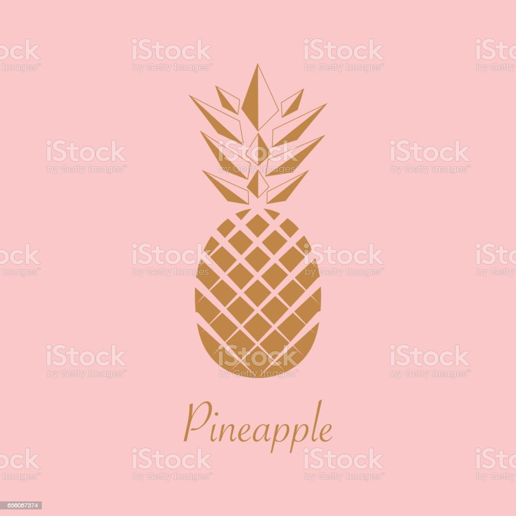 Gold Pineapple fruit. Vector illustration. – artystyczna grafika wektorowa