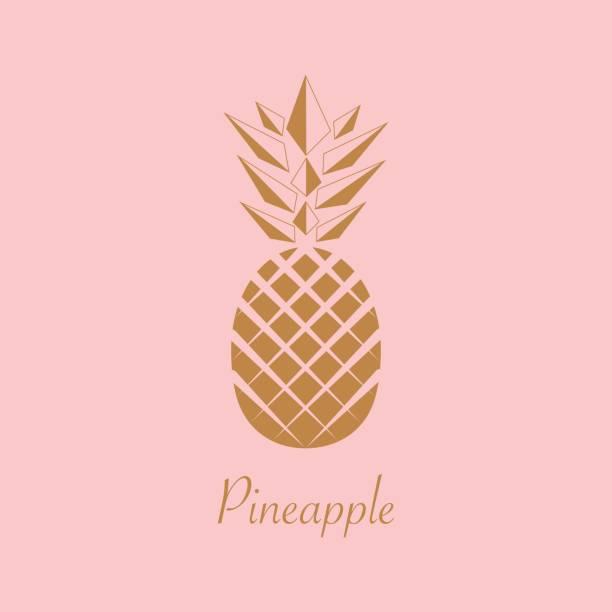 Gold Pineapple fruit. Vector illustration. – artystyczna grafika wektorowa