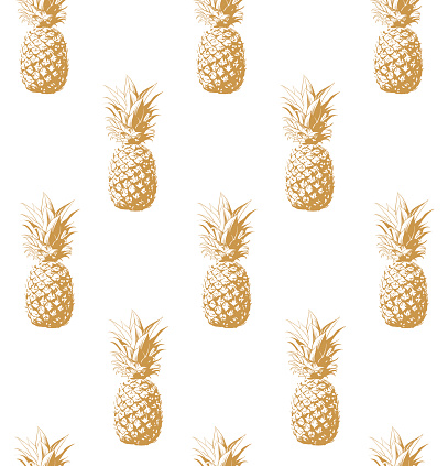 Gold pineapple seamless background.