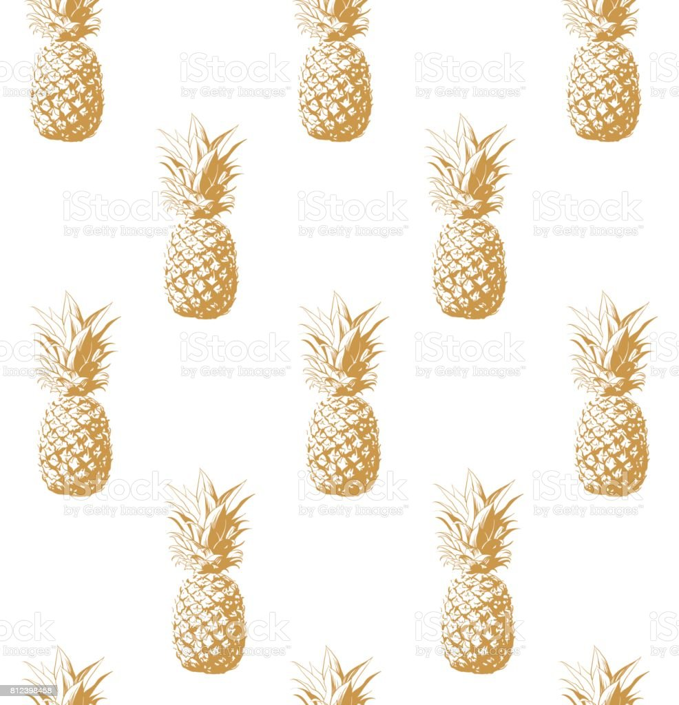 Gold pineapple seamless background. – artystyczna grafika wektorowa