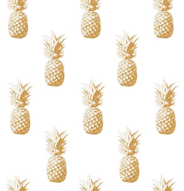 Gold pineapple seamless background. – artystyczna grafika wektorowa