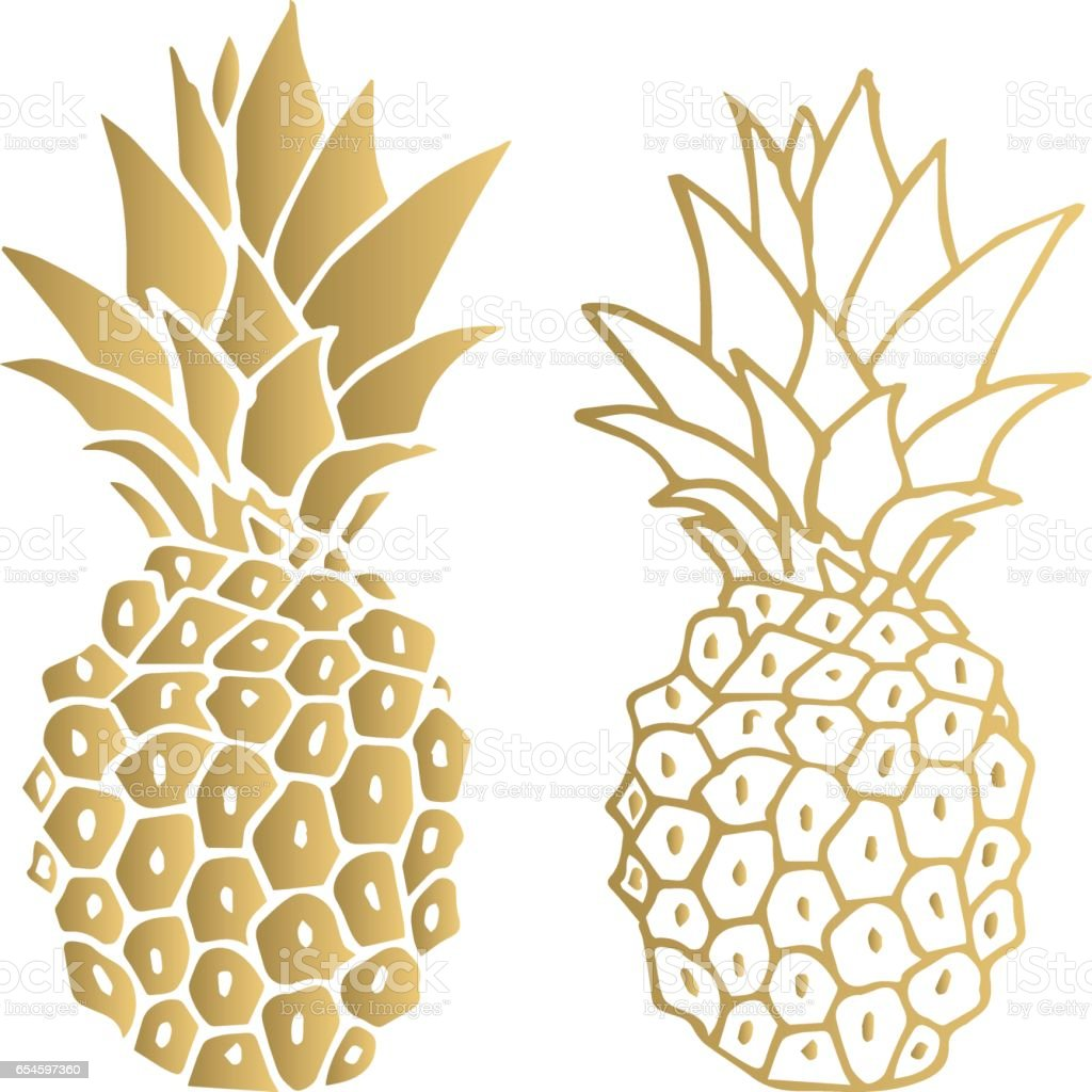 Gold pineapple. Vector illustration. Isolated. – artystyczna grafika wektorowa