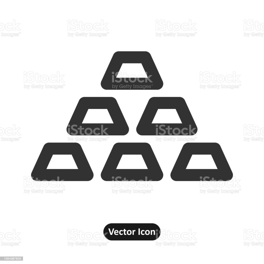 Gold plates placed as a pyramid icon vector art illustration
