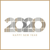 Gold platinum checkered plaid 2020 happy new year. Vector illustration.