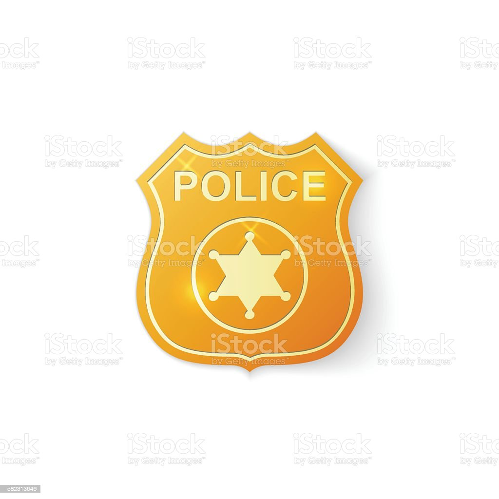 Gold Police badge icon on white background. Vector Illustration vector art illustration