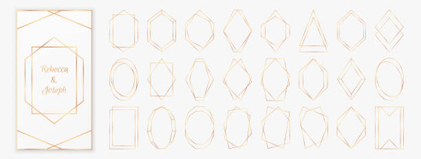 Gold polygonal frames collection isolated on light grey background. Gold polygonal frames collection isolated on light grey background. Vector illustration in art deco style - perfect decision for wedding invitations, birthday cards, luxury posters etc. birthday borders stock illustrations