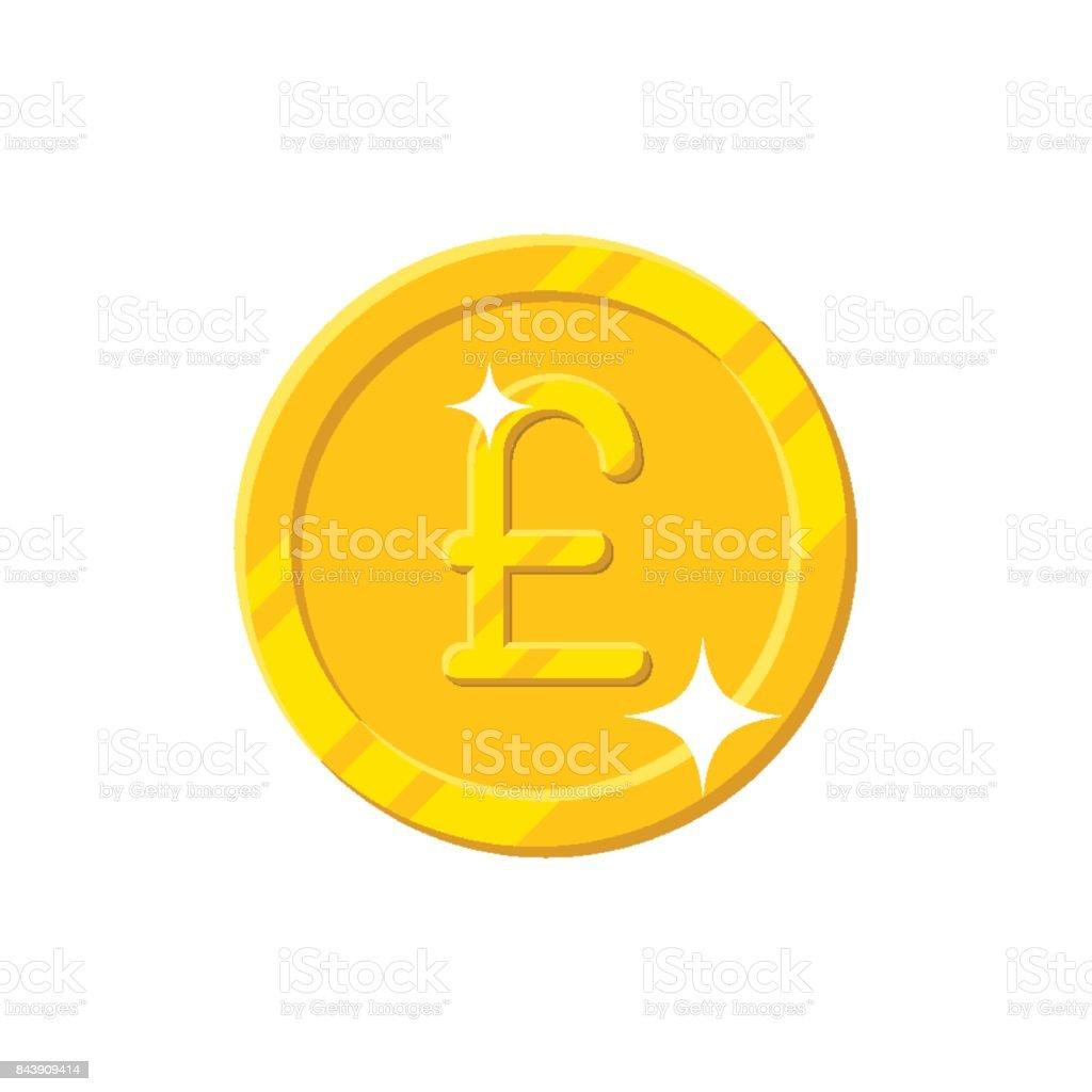 Gold pound coin cartoon style isolated vector art illustration