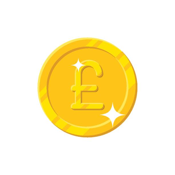 gold pound coin cartoon style isolated - символ фунта stock illustrations