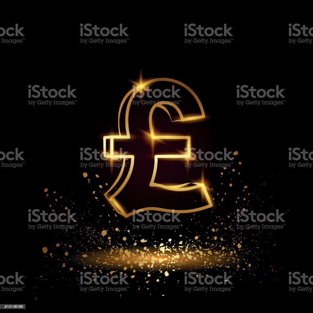 Gold pound sterling symbol currency linear vector illustration on a gold pound sterling symbol currency linear vector illustration on a black background royalty buycottarizona Choice Image
