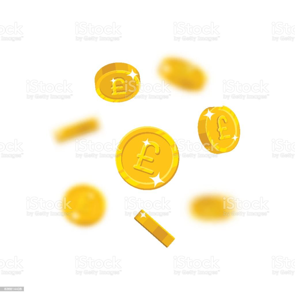 Gold pounds flying cartoon isolated vector art illustration
