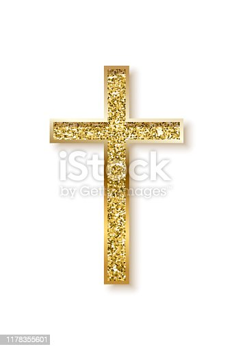 istock Gold prayer cross realistic vector illustration 1178355601