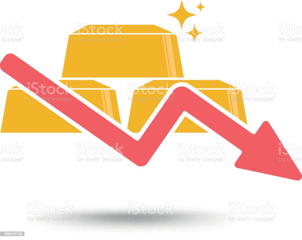 Gold price concept gold and arrow falling down symbol stock vector gold price concept gold and arrow falling down symbol royalty free gold price biocorpaavc Images