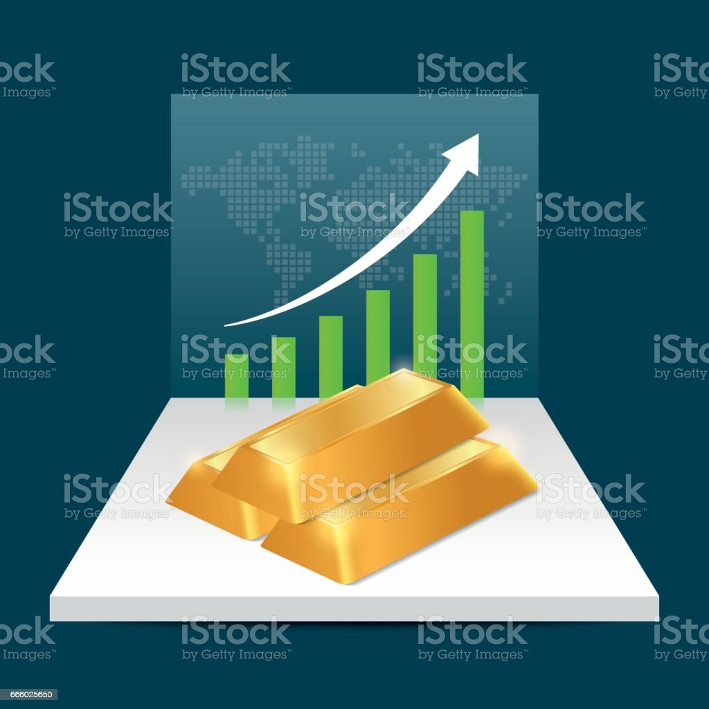 Gold Price Concept Gold Price Growing Up Graph With World Map