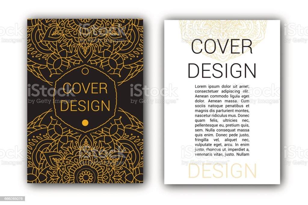 Gold Ramadan brochure pages ornament vector illustration. traditional Islamic, Arabic, Indian elements. decorative retro card for print or web design vector art illustration