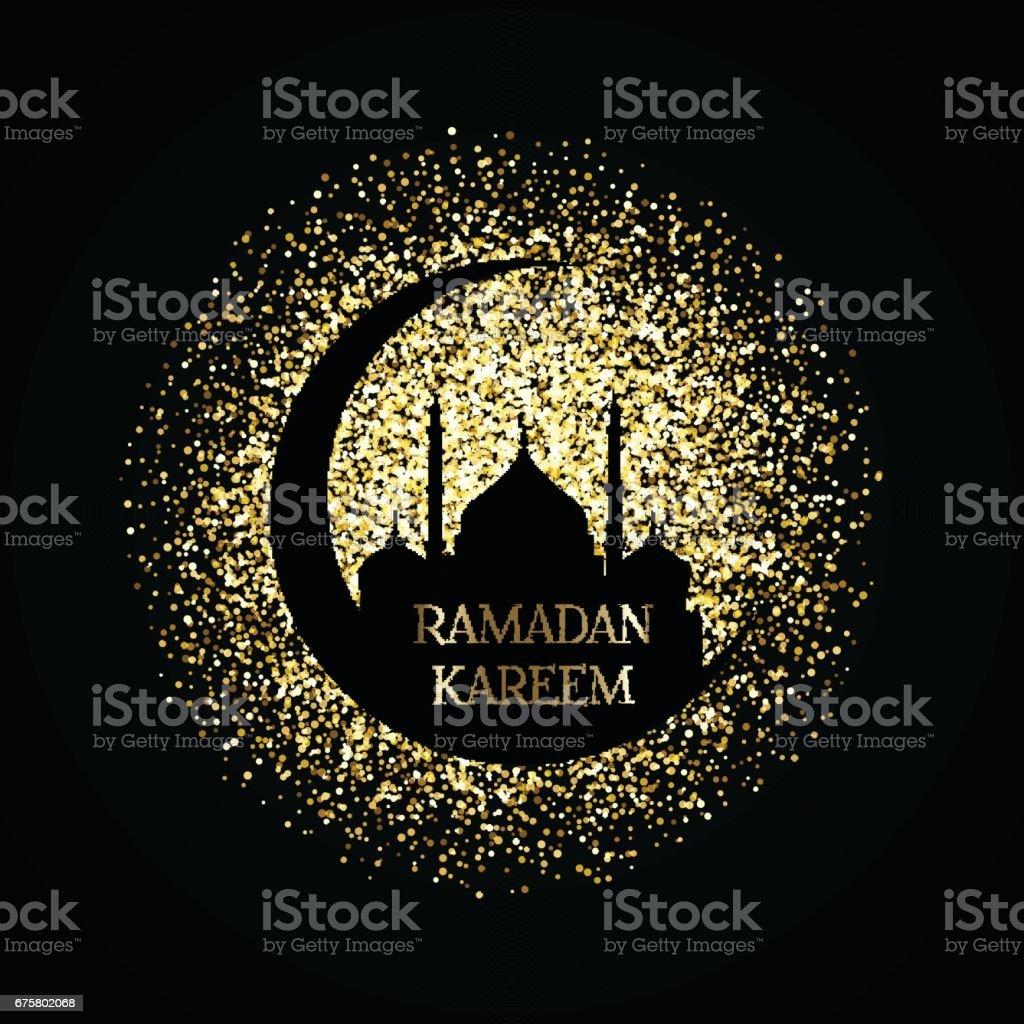 Gold ramadan kareem background vector art illustration
