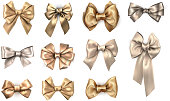 Set of golden realistic beautiful satin bows for gift isolated on white. Vector illustration.