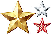 Gold, red and silver graphic reflective stars